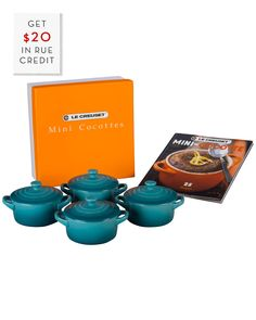 You need to see this Le Creuset Set of 4 Mini Cocottes w/ Mini Cocotte Cookbook &  $20 Rue Credit on Rue La La.  Get in and shop (quickly!): https://www.ruelala.com/boutique/product/101491/31250299?inv=hilldesir&aid=6191