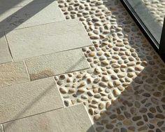 ceramic floor tiles and beach pebbles, modern interior design idea
