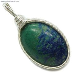 Azurite Cabochon Wire-Wrap Pendant -- Helpful in relieving worries, phobias, and nagging negative thoughts, Azurite also helps one to recognize the areas in life needing attention. Code HCPIN10 = 10% off