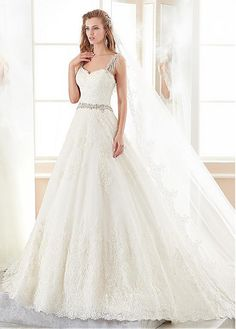 #Dressilyme - #Dressilyme Dressilyme Stunning Tulle Sweetheart Neckline A-line Wedding Dress With Lace Appliques & Beadings - AdoreWe.com