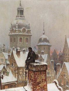 Frans Wilhelm Odelmark ~ The Chimney Sweep. love this painting Winter Magic, Winter Art, Art And Illustration, Chimney Sweep, Inspiration Art, Monet, Illustrators, Sculptures, Art Gallery