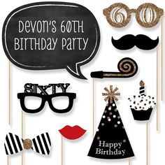 60th Birthday Party Photo Booth Props  Adult by BigDotOfHappiness