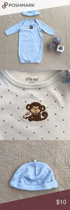 Little Me 'Little Monkey' Gown & Hat— NWOT NWOT!— The fold-over mitten cuffs on this all-cotton sleep gown and hat keep your curious little one from self-scratching throughout the night. Designed with lap-shoulders and an open bottom for ease of movement and quick changing.  100% cotton with elastic hem. Little Me Pajamas