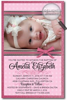 Girly Pink Polkadot Baptism Invitations [DI-800] : Custom Invitations and Announcements for all Occasions, by Delight Invite, photo baptism invitations, girl theme baptism christening invitations, christening ideas for girls, baptism invites, professionally printed, 2 piece hand mounted on metallic sparkly card stock, hand made baptism christening invitations for girls