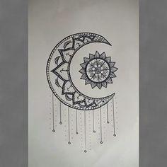 Moon Drawing, Doodle Art Drawing, Art Drawings, Mandala Tattoo, Mandala Art, Sun And Moon Mandala, Sun Moon, Ying Yang, Easy Mandala Drawing