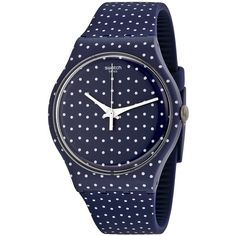 Swatch For The Love Of K Blue and White Unisex Watch ($49) ❤ liked on Polyvore featuring jewelry, watches, water resistant watches, unisex watches, stella & dot jewelry, vintage plastic jewelry and sport watch
