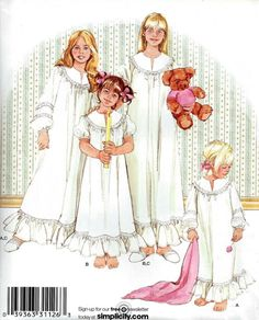 SLEEPWEAR Sewing Pattern - Nightgown & Slippers in 3 Sizes