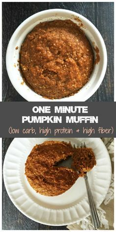 One minute pumpkin muffin - low carb, high protein.