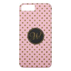 Cool Rose Gold Glitter Polka Dots Monogrammed iPhone 8 Plus/7 Plus Case - monogram gifts unique design style monogrammed diy cyo customize
