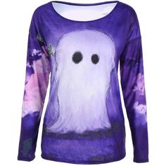 3D Printed Halloween T-Shirt ($11) ❤ liked on Polyvore featuring tops, t-shirts, purple top, purple tee and purple t shirt