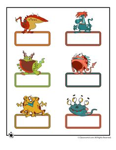 Printable Name Cards and Bulletin Board Decorations Printable Bulletin Board Name Cards - Small Cute Monsters Classroom Jr. Classroom Labels, Classroom Jobs, Classroom Decor, Monster Theme Classroom, Board Decoration, Cute Monsters, Monster Party, Beginning Of School, Halloween