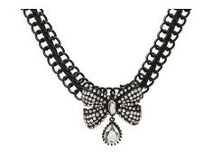 Betsey Johnson Jet Set Bow Gem Choker Necklace