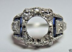 Antique Vintage Ring Setting Mounting Platinum Hold 6.5mm Ring Size 3.75 UK-G1/2…