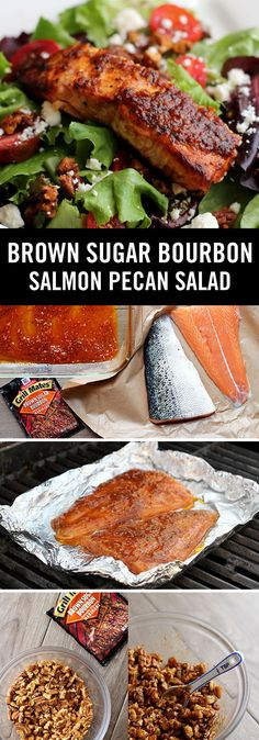 Looking for a new salmon recipe? Brown Sugar Bourbon marinade brings bold flavor to grilled salmon and crunchy pecans in this delicious summer salad. | Thanks to @janemaynard