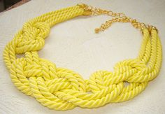 FREE SHIPPING. Yellow sailor knot necklace. by agatsknitting