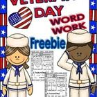 This is a word work mini-FREE set to use the week of veterans' day!  These printables are easy to use because the tasks are based on basic handwritin...
