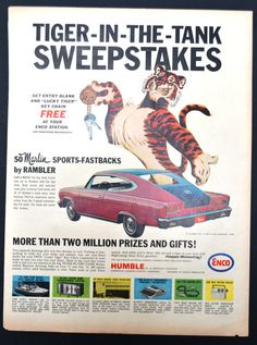 1964 Esso Tiger in Your Tank Print Ad - Sweepstakes - Rambler Marlin