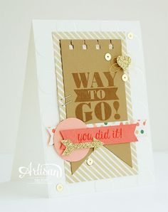 Gold Soiree dsp, Whisper White, Calypso Coral, Baked Brown Sugar & Crisp Cantaloupe cs, Baked Brown Sugar & Calypso Coral ink, Champagne glimmer paper, gold sequin trim, spiral border punch, heart punch