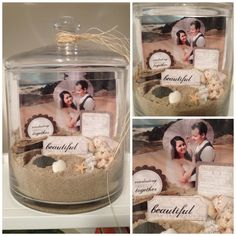 Jar for after wedding. Photo jar using the sand, driftwood, rocks, etc from the beach where we were married, some cute craft cut outs from the craft store which have nice sayings on them and a wedding photo in a large jar Wedding Reception, Our Wedding, Wedding Gifts, Destination Wedding, Wedding Planning, Dream Wedding, Wedding Sand, Wedding Ideas, Beach Crafts