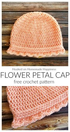 Crochet Hats 67536 The Flower Petal Cap Crochet Pattern is a option for donating to cancer patients. It offers complete head coverage as well as neck and ear coverage. It's a quick and easy pattern with a little feminine touch. Easy Crochet Hat, Crochet Baby Hat Patterns, Crochet Hat For Women, Crochet Beanie Pattern, Crochet Cap, Crochet For Kids, Crochet Crafts, Free Crochet, Crochet Hats For Babies