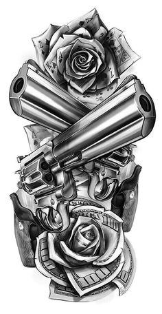 Revolver guns and dolars tattoo design …