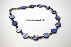 Blue And Silver  Shell Anklet  Beaded Anklet by TwoFeathersJewelry, $12.00 #anklet #blue #silver #shell #beaded