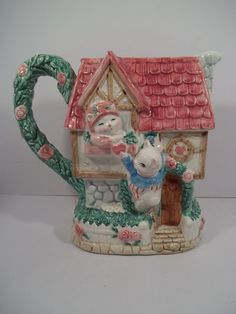 FITZ and FLOYD PITCHER in KITTY KOTTAGE DESIGN -Dated 1992- Hearts/Roses/Kittens