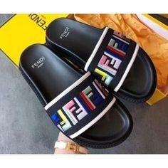 Fendi Multicolour FF Logo Canvas Flats Slides Sandals Black 2018 Sandals 2018, Flat Sandals, Slide Sandals, Flats, Cute Cartoon Wallpapers, Luxury Shoes, Pool Slides, Girls Best Friend, Fendi