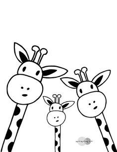 Family Giraffe Selfie Print Printable Nursery Art Black And - Giraffe Art, Easy Giraffe Drawing, Giraffe Nursery, Nursery Art, Adult Coloring Pages, Art Inspiration Drawing, Illustration, Painting Edges, Stretched Canvas Prints