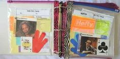 Make pockets for your binders using zip-loc bags and duct tape.