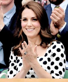 The Duchess of Cambridge in the royal box of Centre Court on day one of the Wimbledon Championships at The All England Lawn Tennis and Croquet Club, Wimbledon. || 3.7.2017