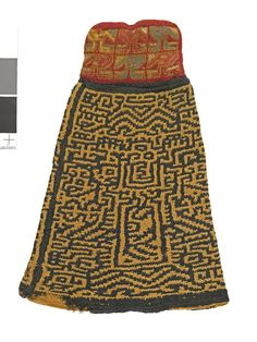 Nazca: Complete textile; bell-shaped pendant; single piece of camelid double-layered sprang worked from wide ends towards middle; cross-knit loop stitched pad at top; sprang features geometric decoration; pad depicts 6 zoomorphic(?) figures laid out in grid pattern; tan, black, red, blue, gold, with white cotton.  British Museum  Registration number: Am1914,0731.51