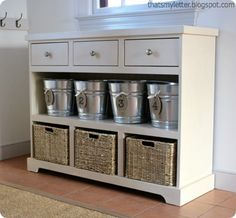 DIY Furniture | Get the free building plans for this Pottery Barn inspired entryway storage console that has both open and hidden storage