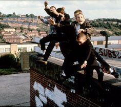 Boys Jumping off Roof, High Wycombe, UK, 1980s