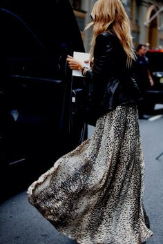 Leopard maxi + leather jacket.