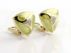 Gem of a Gift Idea #19: Very unusual Diamond and 18k Yellow Gold Earrings enhanced a striated pale green enamel patten, reminiscent of leaves surrounding a flower.  Made in England. $2195. (Seven FIelds location)