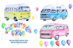 Watercolor Classic Campervan by Corner Croft on Creative Market