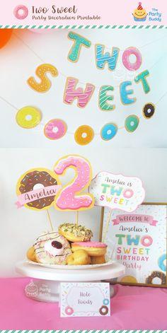 TWO Sweet! Birthday decoration printable for girls who turning 2. https://etsy.me/2IgRuHC #personalized #donutbanner #twosweet #donutparty #donutprintable #2ndbirthday
