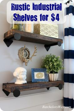 Girls Bathroom - Rustic Industrial Shelves for $4