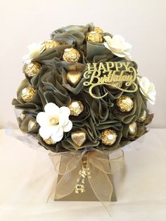 Ferrero Rocher Chocolate Bouquet. Perfect gift for Birthday, Anniversary, Get Well Soon, Mothers Day, Congratulations by SweetPosies1 on Etsy