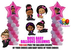 Boss Baby Shower Girl  Balloon Columns, Cake Table, Gift Table, DIY KIT Party Supplies Baby Shower Balloon Decorations, Girls Party Decorations, Baby Balloon, Baby Shower Balloons, Balloon Centerpieces, Birthday Balloons, Baby Girl Shower Themes, Baby Shower Party Supplies, Boho Baby Shower