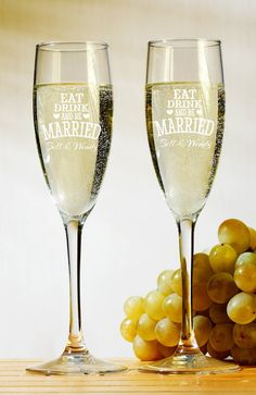 Personalized Champagne Glasses Champagne Flutes Bride and Groom Toasting Glasses Set of 2 on Etsy, $22.00