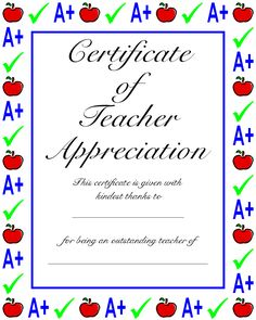 Teacher diplomas students fill out the information that you teacher appreciation certificates are an ideal gift for to show appreciation to favorite teachers at the end of the school year yadclub Gallery