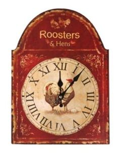 Country Rooster Kitchen Decor, I have a clock in this exact shape I could decopouge something onto the face of the clock and the top of the clock to match the room I want it in.