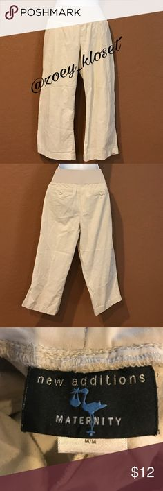 New Addition Maternity Tan Crop Pants Excellent Condition, Wide Elastic Waist, Back Pockets, Super Comfy. New Addition Maternity Pants Ankle & Cropped