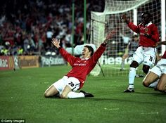 Ole Gunnar Solskjaer scored in extra time to defeat Bayern Munich to win the Champions League and secure the treble for Manchester United Manchester United Team, Official Manchester United Website, Camp Nou, Man Utd News, Premier League Champions, Man United, The Unit, Football Pics, Retro Football