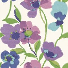 Wild Flowers (128028) - Esta Home Wallpapers - A bold stylised floral design with lilac, purple and blue flowers with green stems. Please request a sample for a true colour match.