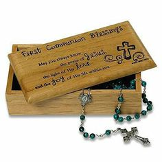 """First Communion Gift - Communion Blessings by first-communion-blessing. $18.00. Celebrate a First Holy Communion with our blessings plaque.. Comes in a white corrugated box. 7"""" x 3 1/2"""" x 2 1/4"""".. Great for a young boy or girl making their sacrament of communion.. Solid wood box is lined with soft fabric and features a laser-engraved lid. Comes in a white corrugated box. 7"""" x 3 1/2"""" x 2 1/4""""."""