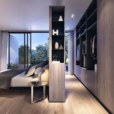 Master bedroom goals... Love this walk-around robe! And the clever storage in the dividing wall!! #homedesign #lifestyle #style #designporn #interiors #decorating #interiordesign #interiordecor #architecture #landscapedesign