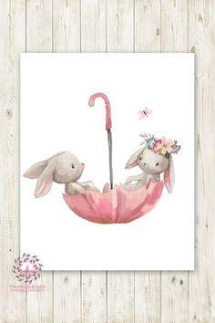 Umbrella Bunnies Bunny Rabbit Boho Girl Nursery Wall Art Print Baby Room Watercolor Printable Decor